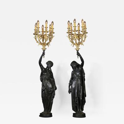 Albert Ernest Carrier Belleuse A Fine Pair of Bronze Figural Torcheres