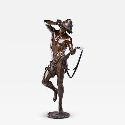 Albert Ernest Carrier Belleuse A Fine Quality Patinated Bronze Sculpture of a Young Man with Lute