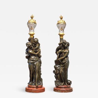 Albert Ernest Carrier Belleuse Important Pair of Patinated Bronze Figural Sculpture Torcheres