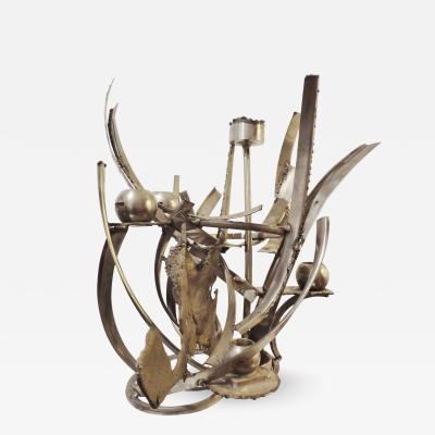 Albert FERAUD Unique sculpted steel candleholder 1970 by Albert FERAUD 1921 2008