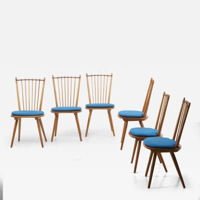 Albert Haberer Set of 6 Dining Chairs by Albert Haberer for Hermann Fleiner