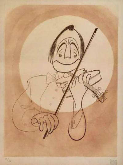 Albert Hirschfeld Al Hirschfeld Etching Jack Benny with Violin in White Tux 89 150 1975