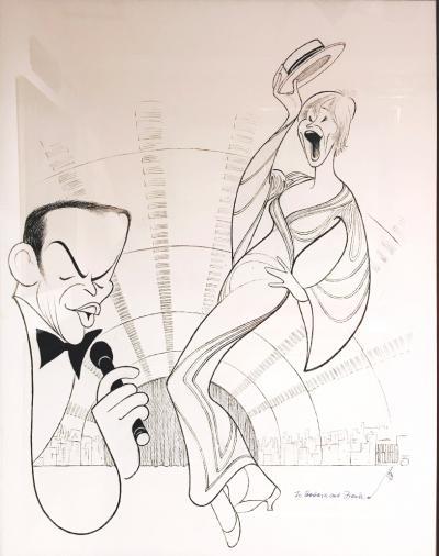 Albert Hirschfeld Frank Sinatra and Shirley Maclaine at Radio City Music Hall