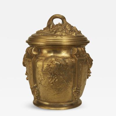 Albert Marionnet French Art Nouveau Gilt Bronze Round Box