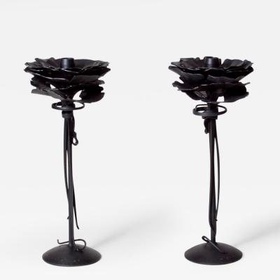 Albert Paley Pair of Forged Steel Candlesticks