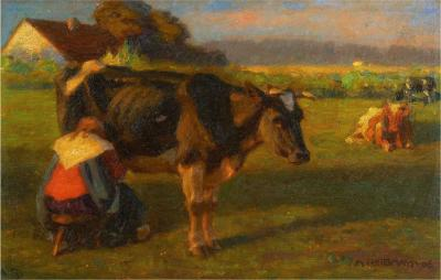 Albert Reibmayr Milking Time 1906 Landscape Painting of Cows by Albert Reibmayr Austrian