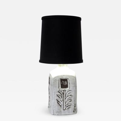 Albert Thiry French Incised and Glazed Ceramic Table Lamp by Ceramic Artist Albert Thiry