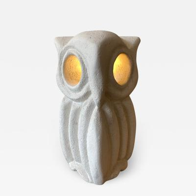 Albert Tormos Limestone Table Lamp Owl France 1970s