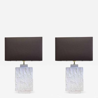 Alberto Diego Giacometti Pair French Mid Century Modern Plaster Gesso Table Lamps Style of Giacometti