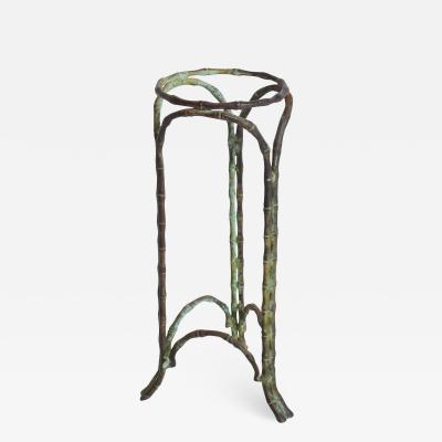 Alberto Diego Giacometti Regal Regency Faux Bamboo Pedestal Vase Stand Garden Planter in Bronze Verdigris