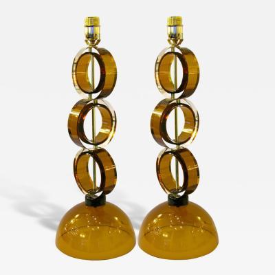 Alberto Dona 1970s Italian Pair of Amber Murano Glass Disks Lamps by Alberto Dona