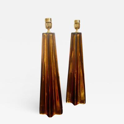 Alberto Dona A Pair of Bronze Murano Mercury Glass Table Lamps Signed by Alberto Dona