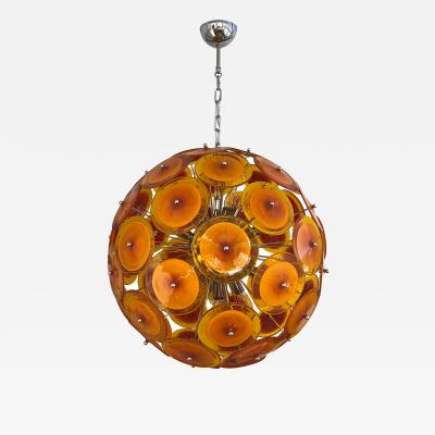 Alberto Dona Alberto Don Contemporary Nickel Brown Orange Yellow Murano Glass Chandelier