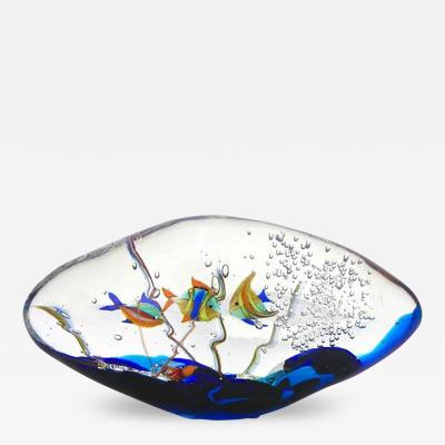 Alberto Dona Alberto Dona 1980s Modern Blue Yellow Orange Green Murano Glass Oval Aquarium