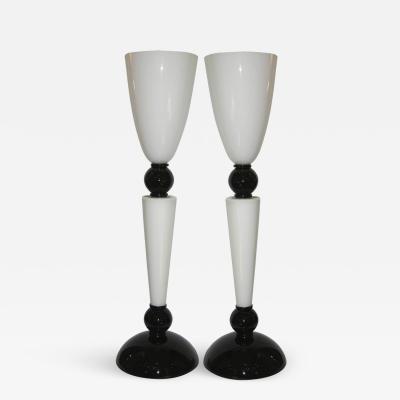 Alberto Dona Alberto Dona Monumental Art Deco Black and White Murano Glass Table Floor Lamps
