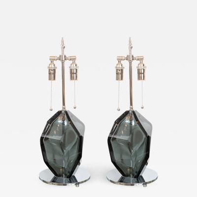 Alberto Dona PAIR OF SMOKED FACETED MURANO GLASS LAMPS by Alberto Dona
