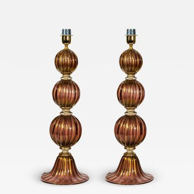 Alberto Dona PAIR OF TABLE LAMP WITH 3 SPHERE PURPLE AND GOLD INCLUSION