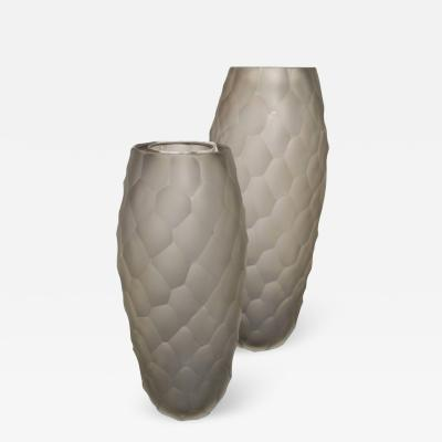 Alberto Dona Pair of Alberto Don Large Gray Frosted Faceted Italian Murano Vases