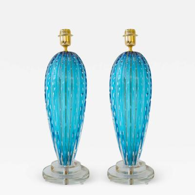 Alberto Dona Pair of Aquamarine Blue or Blue Topaz Murano Glass Lamps Italy Signed