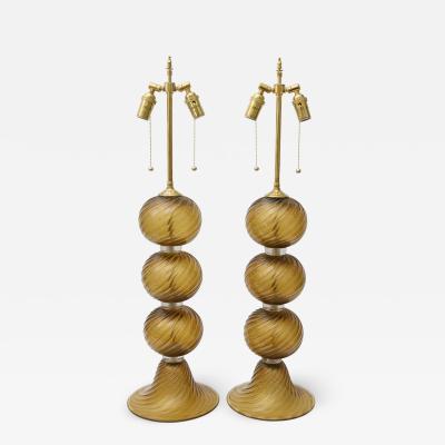 Alberto Dona Pair of Golden Amber Colored Murano Glass Table Lamps by Alberto Dona