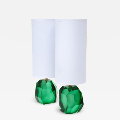 Alberto Dona Pair of Solid Emerald Green Jewel Murano Glass Lamps Italy Signed