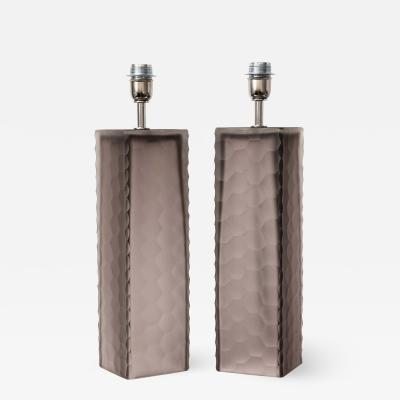 Alberto Dona Pair of Taupe Grey Murano Glass Textured Rectangular Block Lamps Signed Italy