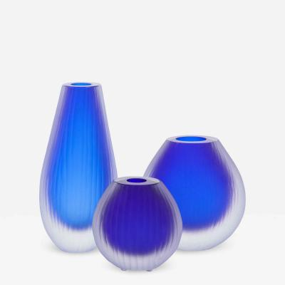 Alberto Dona Set of Three Fluted Cobalt Blue Murano Glass Vases Signed by Alberto Don