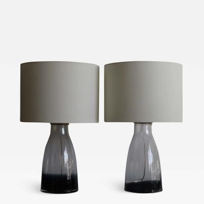 Alberto Dona Style Hand Blown Midnight Blue Murano Glass Table Lamps