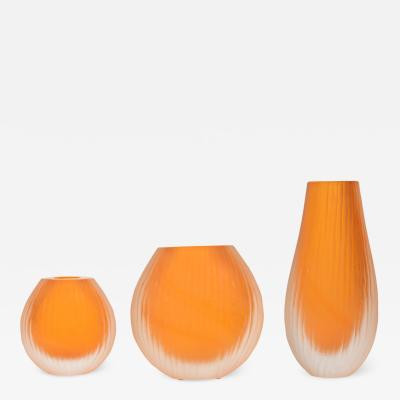 Alberto Dona set of 3 Murano decorative glass vases