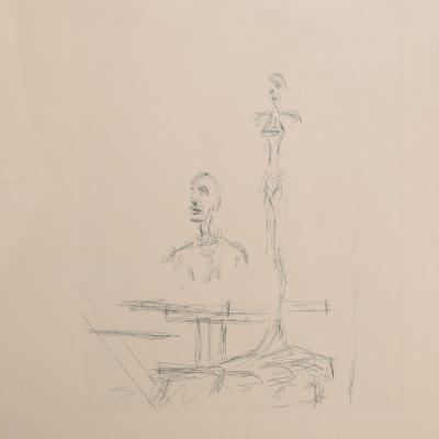 Alberto Giacometti French Embossed Original Etching of The Search by Alberto Giacometti 1960s