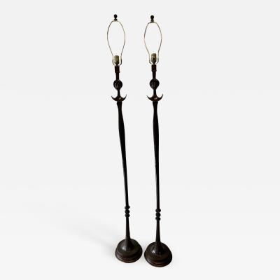 Alberto Giacometti Pair of Bronze Floor Lamps in the Style Giacometti