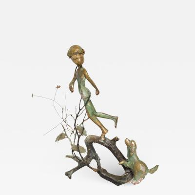Alberto Giacometti Poetic Bronze Sculpture Boy in Tree with Dog Giacometti Figural Style 1940s