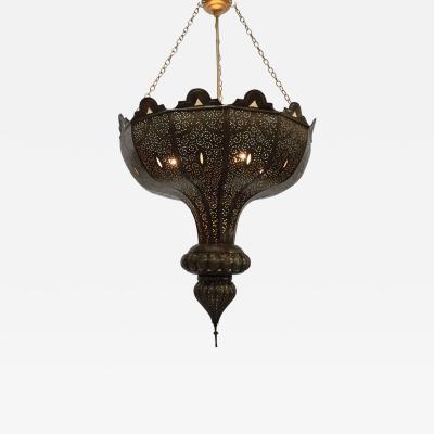 Alberto Pinto Large Brass Moroccan Moorish Chandelier in Alberto Pinto Style