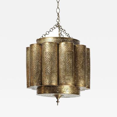 Alberto Pinto Large Pierced Brass Moroccan Chandelier in Alberto Pinto Style