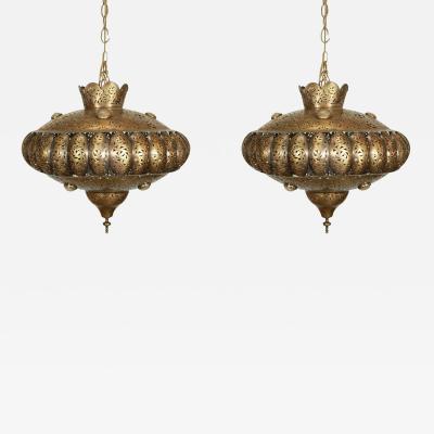 Alberto Pinto Moroccan Brass Pendants in Alberto Pinto Style Pair
