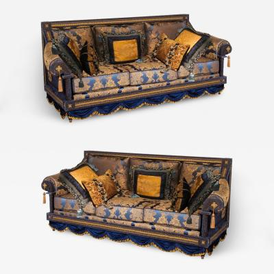 Alberto Pinto Opulent Pair of French Royal Blue Gold Silk Damask Three Cushion Sofas Couches