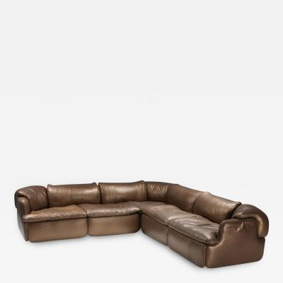 Alberto Rosselli Bronze Leather Saporiti Confidential sectional sofa