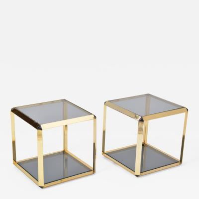 Alberto Rosselli Pair of Gold Colored Side Tables by Alberto Rosselli for Saporiti