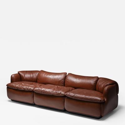 Alberto Rosselli Saporiti Confidential Cognac Leather Sofa by Alberto Rosselli 1972
