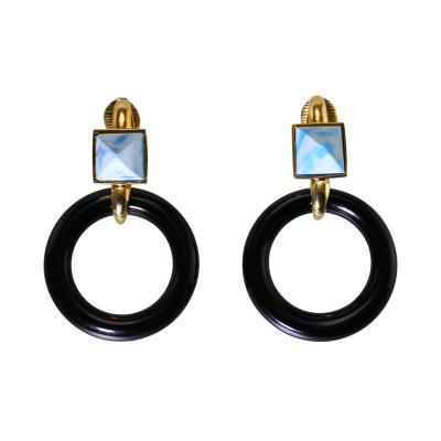 Aldo Cipullo Pair of 18 Karat Gold Pectolite and Onyx Earrings by Aldo Cipullo