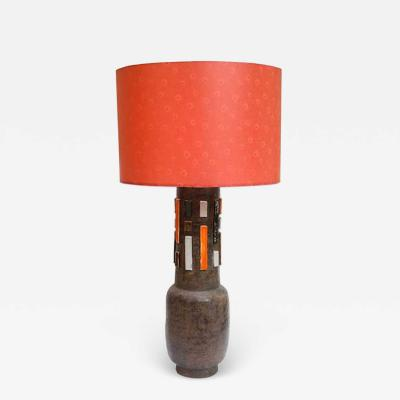 Aldo Londi 1950S TERRA ORANGE AND WHITE STUDIO CERAMIC LAMP BY ALDO LONDI