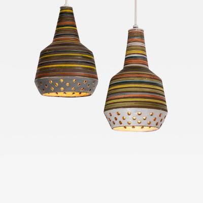 Aldo Londi 1950s Aldo Londi Ceramic Bitossi Pendant Lamp for Italian Raymor