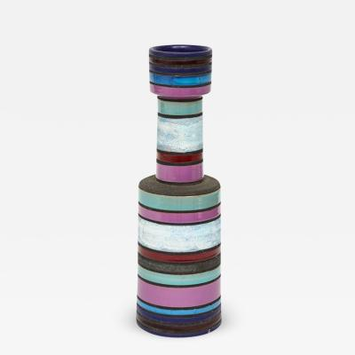 Aldo Londi Aldo Londi Bitossi Raymor Ceramic Vase Stripes Pottery Signed Italy 1960s