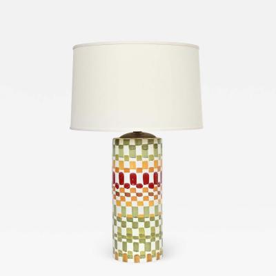 Aldo Londi Aldo Londi Colorful Hand Painted Patchwork Ceramic Table Lamp 1960s