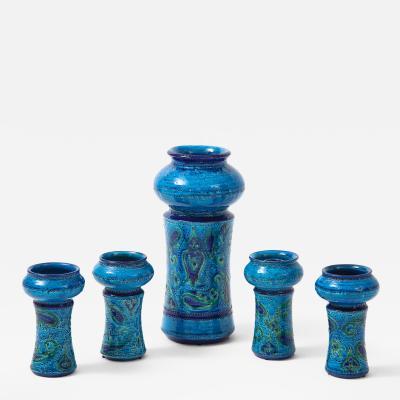 Aldo Londi Aldo Londi For Bitossi Vase With Four Matching Candle Holders