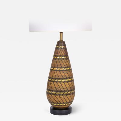 Aldo Londi Aldo Londi Hand Painted Zig Zag Art Pottery Table Lamp 1950s