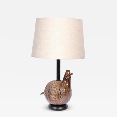 Aldo Londi Aldo Londi for Bitossi Incised Partridge Ceramic Table Lamp 1960s