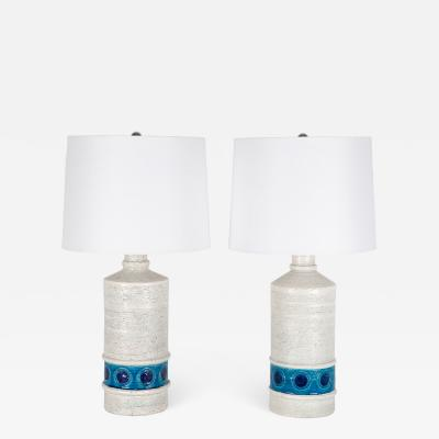 Aldo Londi Aldo Londi for Bitossi white and blue ceramic table lamps circa 1950s