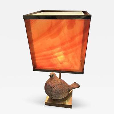 Aldo Londi Amazing Italian Modernist Ceramic Partridge with Tortoise Shell Lucite Shade
