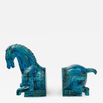 Aldo Londi Bitossi Rimini Blu Horse Bookends by Aldo Londi Italy 1960s